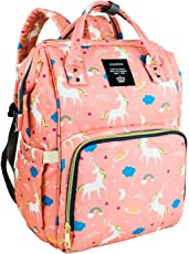 Baby Essentials Premium Waterproof 25 L New and Fashionable Unicorn Design Diaper Bag for Mothers and Baby for Travel - Stylish Tote & Bagpack - Peach with Free Baby Support Pillow
