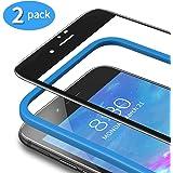 TAMOWA [2-pack skärmskydd för iPhone 8 Plus/7 Plus (5,5 tum), 3D-härdat glasskydd 9H heltäckningsfilm med installationsram, r