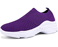 Womens Trainers Athletic Lightweight Walking Shoes Mesh Running Sneakers Slip On Tennis Sock Fitness Shoes Loafer Nursing Sho