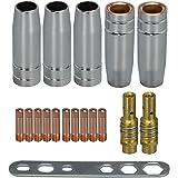 MIG MAG lasbrander slijtageonderdelen set geschikt 15AK MB15 17 delen 5 x gasmondstuk 2 x mondstukken 10 x stroommondstuk M6