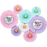 Buena Ventura's Themez Only Unicorn Theme Decoration Paper Fans - Set of 6 Pcs (Pastel)