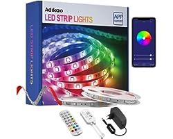 WIFI LED Strip Lights med Romote, 10m RGB SMD5050 Color Changing LED Strip Lights Appstyrd fungerar med Alexa Google Assistan