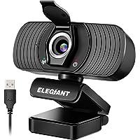 ELEGIANT Webcam Webkamera 1080P HD PC Webcam mit Mikrofon und Datenschutzabdeckung USB-Computerkamera für Skype FaceTime…