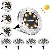 Lampe Solaire Extérieur Jardin, BrizLabs 8 LED Spots Solaires Exterieur Etanche IP65 Acier Inoxydable Encastrables Lumière So