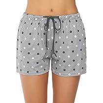 Hawiton Ladies Short Bottoms Shorts Lounge with Drawstring//Pockects Pure Cotton Sleep Pajamas Shorts for Women