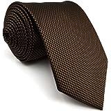 Shlax&Wing Cravatta da uomo Tinta Unita Dark Marrone Chocolate Seta Classic