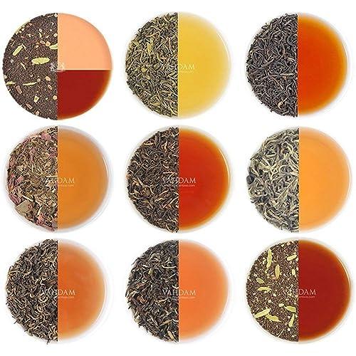 VAHDAM, Tè assortito in foglie sfuse - 10 TASTI, 50 PORZIONI - Tè nero, tè verde, tè Oolong, tè Chai, tè bianco | Varietà del tè | Tè caldo, ghiacciato, Kombucha | Regalo del campionatore del tè sfuso