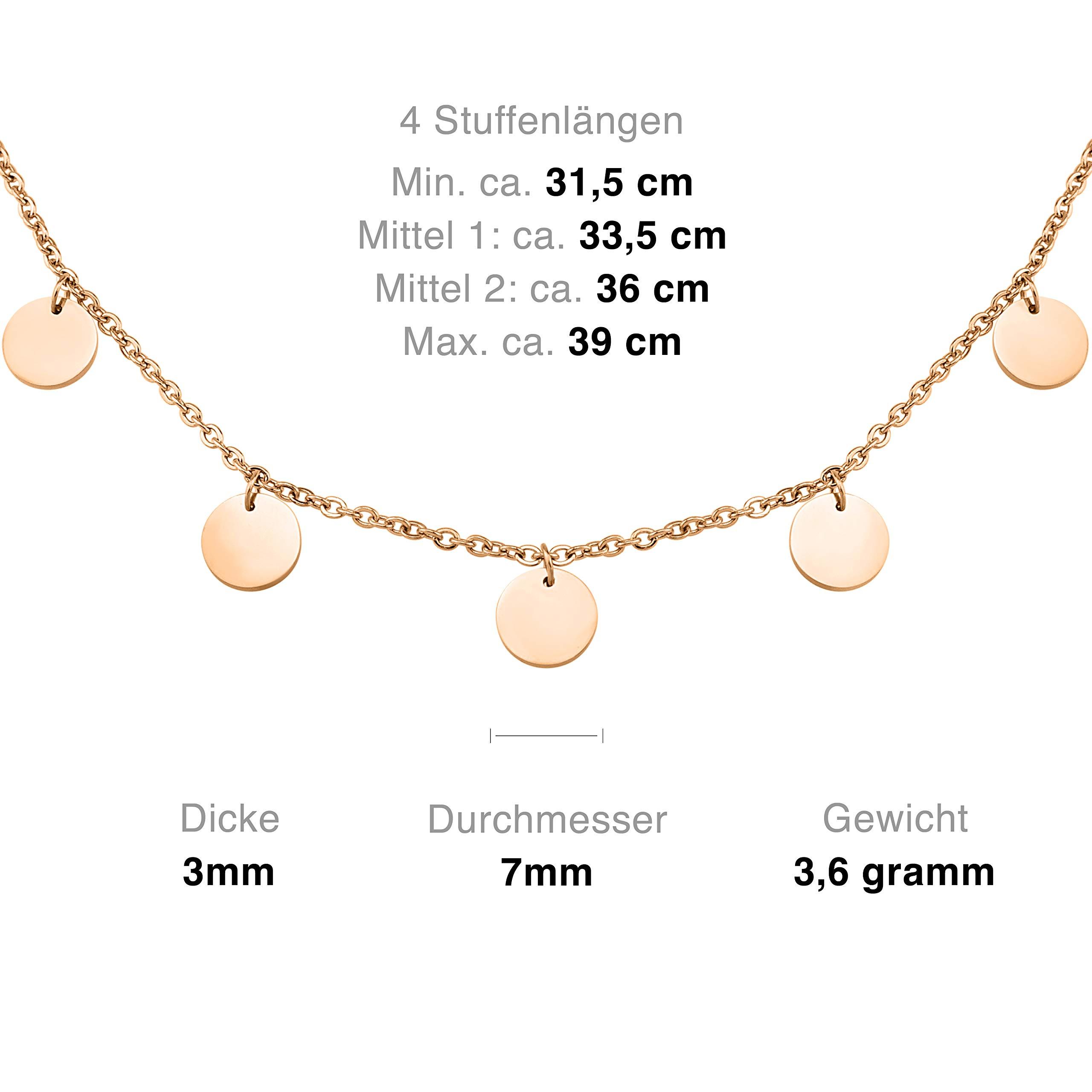 ea5aac452205 Schöne Halskette aus Edelstahl mit Plättchen in Farbe Rosegold für Damen  mit verstellbarer Länge   wundervoller