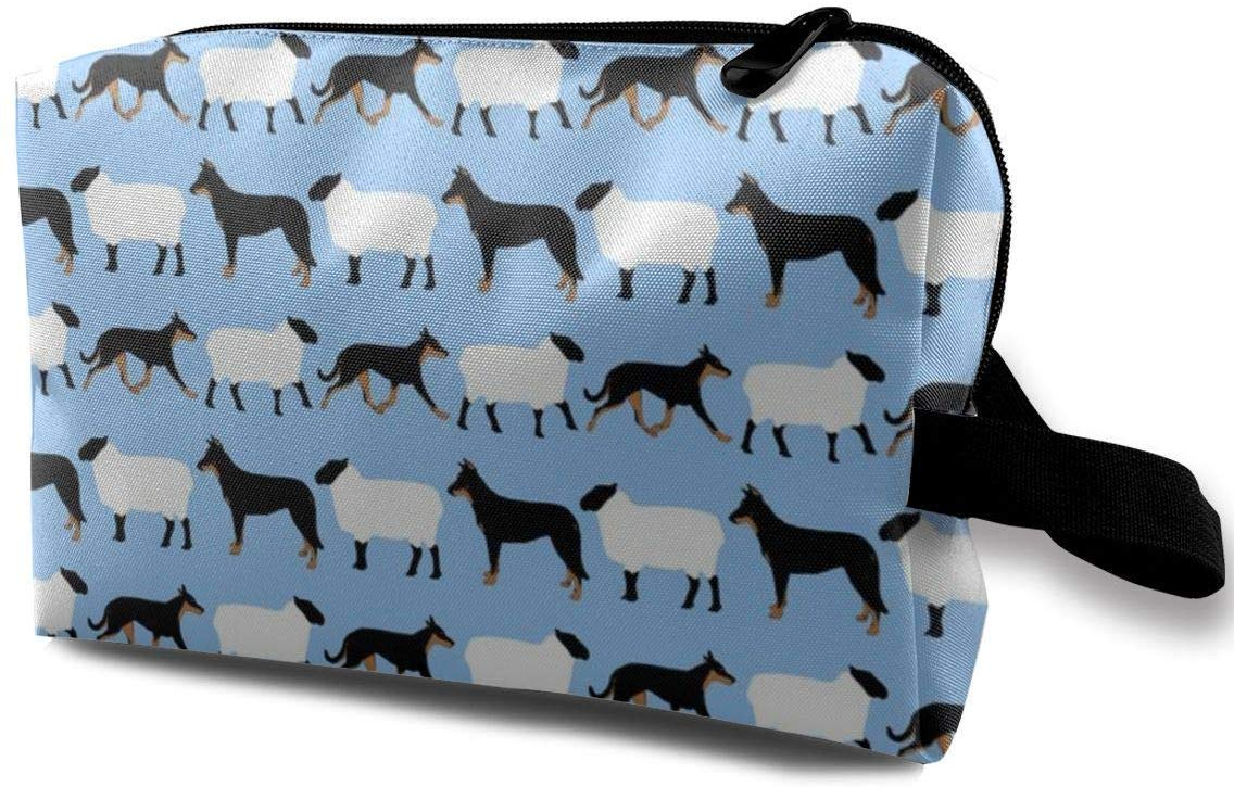 Basic Beaucerons and Sheep – Blue_7308 Toiletry Bag Cosmetic Bag Portable Makeup Pouch Travel Hanging Organizer Bag for Women Girl 10x5x6.2 inch