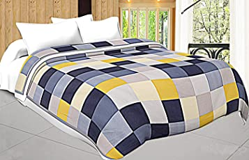 Shopnetix Microfiber Check Print Double Bed Dohar/Ac Blanket (Blue Yellow)