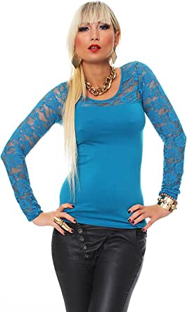 Fashion4Young 10304 Damen Langarm Damen T-Shirt mit Spitze