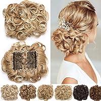 Extension clip capelli veri Pettini Estensioni dei capelli ondulati ricci disordinati Bun Piece Up Do Coulisse coda di…