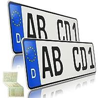TEILE-24.EU 2 Kurze Kfz Kennzeichen mit individueller Prägung   420 x 110mm   Nummernschild   Autokennzeichen für…