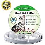 CRAZYMAN Zeckenhalsband für Katzen, Passend für Kleine, Mittlere und Große Katzen, Verstellbare/Wasserdichte/Hypoallergen(8 Monate, 35cm)