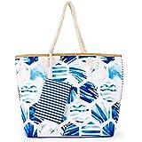 Große Strandtasche mit Reißverschluss, Large Sommer Leinentragetaschen 55 x 40 x 16 cm (Blau)