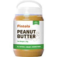Pintola All Natural Peanut Butter (Creamy) | Unsweetened | 30g Protein | Non GMO | Gluten Free | Cholesterol Free (2.5kg…