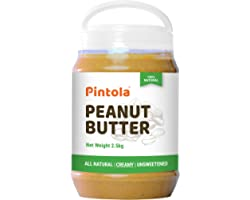 Pintola All Natural Peanut Butter (Creamy) | Unsweetened | 30g Protein | Non GMO | Gluten Free | Cholesterol Free (2.5kg)