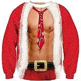 Goodstoworld Unisex Felpa Natale Senza Cappuccio Funny 3D Christmas Elf Animali Stampato Pullover T-Shirt