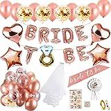 MMTX Hen party decoración para bodas fajín de novia velo bodas bandera Confetti Oro rosa globos,Estrella Corazón globos papel
