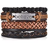 Aookay Mixed Wrap Leather Wristbands Bracelets and Wood Beads Weave Bracelet Set for Men Women Adjustable 4 Pieces Beads Brai