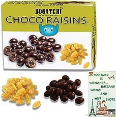 BOGATCHI Happy Anniversary Gifts, Dark Chocolate Coated Afgani Raisins 200g, Free Happy Anniversary Greeting Card