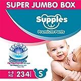 Supples Baby Diaper Pants S Pack of 3 Super Jumbo Box (234 Piece)