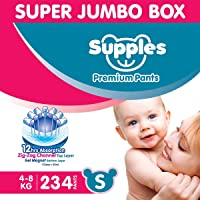 Supples Baby Diaper Pants S Pack of 3 Super Jumbo Box (234 Piece)