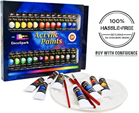 Acrylic Paint Set - 24 X 12ml Tubes, 3 Free Brushes And Palette | Rich Pigment, Non-Toxic | Painting on Canvas, Wood, Ceramic, Fabric | Perfect Paints For Kids, Beginners And Professionals | Decospark