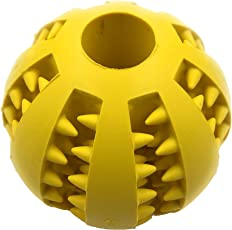 Premium Quality Dog Pet Ball with Gums Massager ~ Best for Teething Dogs (Large Breeds 7 cm Diameter, Yellow)