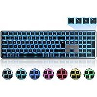 Beleuchtete Bluetooth Funktastatur, Seenda Kabellose Tastatur mit LED Beleuchtung, Multi-Device (4 Bluetooth) Wireless…