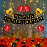 Party Propz Happy Anniversary Decoration Items - 71Pcs with LED Light Banner, Arch, Balloons, Glue Dot for 1st, 5Th,25th Part