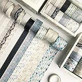 YUBX 12 Rouleaux Washi Tape Ruban Adhésif Papier Décoratif Masking Tape pour Scrapbooking Artisanat de Bricolage (Geometric P