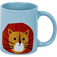 MINISO 320ML Cute Ceramic Mug for Tea, Milk, Coffee (Lion,Light Blue)