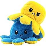 KPRICE - Peluche Poulpe Double Face Humeur 20 Cm - Bleu et Jaune - Pieuvre Mignonne - Jouet Emotion Bi-Color - Poupée Animaux