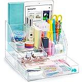 Organiseur Tiroir Bureau Transparent - 2 Tiroirs Acrylique Organisateur idéal pour bureau et vos Accessoires avec 5 compartim