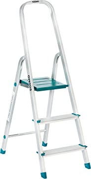 Amazon Brand – Solimo 3-Step Foldable Aluminum Ladder, rust proof and certified by European Standard EN 131