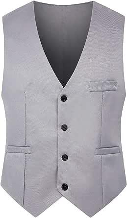 GRMO Mens Sleeveless Slim Casual Business Waistcoat Button Down Dress Vest