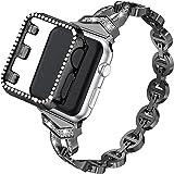ZXK CO Correa de repuesto + carcasa de policarbonato brillante compatible con Apple Watch, 44 mm, 42 mm, 40 mm, 38 mm, acero