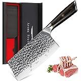 Aroma House Couteau de chef Couperet de cuisine chinois Couteau en acier à haute teneur en carbone allemand avec lame tranchante pour cuisine et restaurant