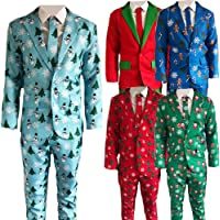 """Blue Planet Fancy Dress Mens Novelty Christmas Suit (Jacket, Trousers & Tie) Xmas Costume (Medium (38-40"""" Chest, up to…"""