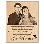 Engraveindia Personalized Unique Wedding Anniversary/Just Married Gift - Wooden Engraved Photo Plaque/Frame
