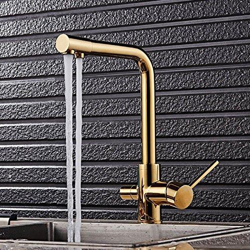 YSRBath Moderne Küche Waschbecken Monoblock Mischbatterie Küchenarmatur Golden Warmes und Kaltes Dampfgarer Dreht Sich Küche Badezimmer Waschtischmischer Einhebelmischer