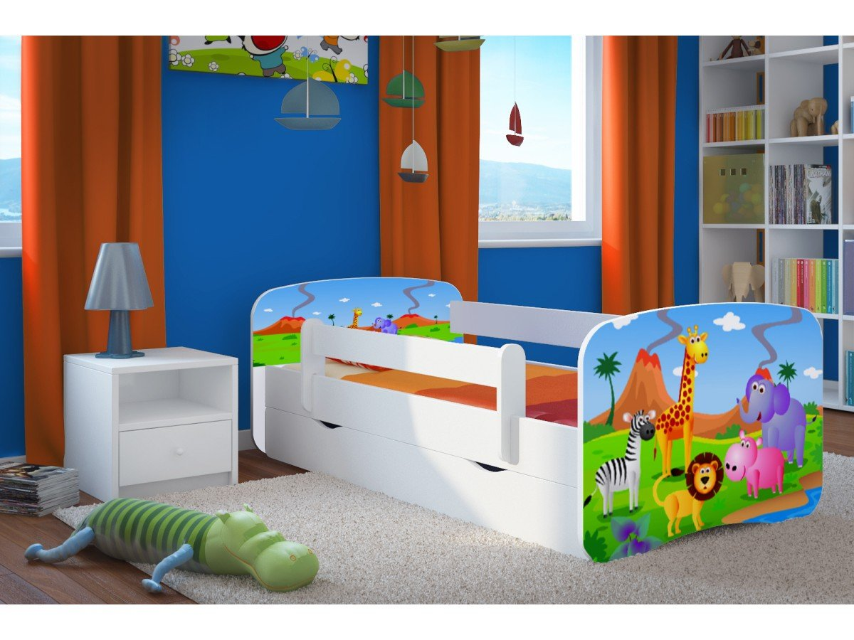 Wonderhome24 White Toddler Bed with Mattress & Storage Included. Kids Children Junior Bed, Animals, Cars (7. Safari, 180x80)  Wonderhome24