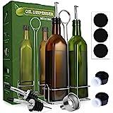 Aozita 17oz Olive Oil Dispenser Bottle Set with Stainless Steel Holder Rack - 500ml Glass Oil & Vinegar Cruet with No-drip Po