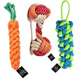 BLACK DOG Rope Toys for Dogs, Puppy Chew Teething Rope Toys Set of 3 Durable Cotton Dog Toys for Playing and Teeth Cleaning T
