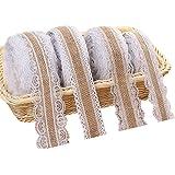 Wit jute kanten lint, natuurlijke Hessische linten rol met kanten versiering voor bruiloft kerstfeest ambachten geschenken ve