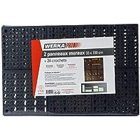 WERKA PRO 10119 - 2 Panneaux de rangements muraux - Idéal pour Outils Pinces, Tournevis - Inclus 20 crochets de…