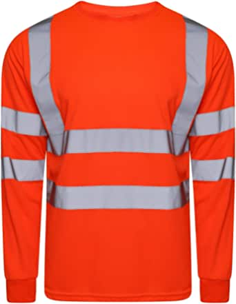 Style Spot Hi Viz Vis Crew Neck Two Tone T Shirt Full Sleeve Safety Security Clothing Work Utility Full Sleeve T Shirt Tops
