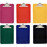 AmazonBasics Plastic Clipboards, Assorted Colors, Pack of 6
