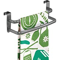 mDesign Tea-Towel Holder – Over Door Towel Rail with No Drilling Required – Kitchen Towel Holder – Ideal for Kitchens…